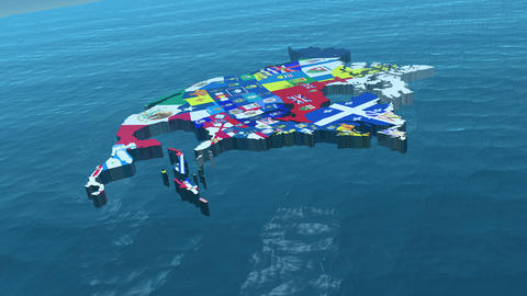 HD USA with State Flags in the Sea Wide Animation