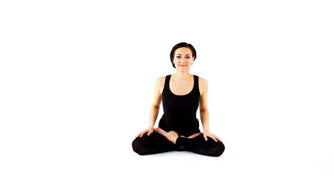 young beauty woman prepare for yoga Stock Video Footage