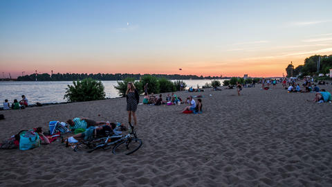 Hamburg Elbe river with sand beach in the evening  Footage
