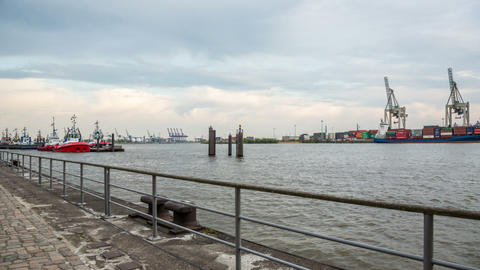 Hamburg Harbor With Elbe River And Ship Terminals  stock footage