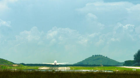 Airliner taking off from the airfield Footage