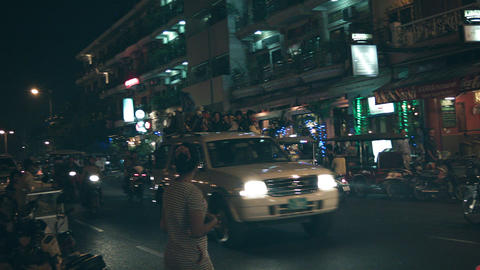 PHNOM PENH. CAMBODIA - 29 DEC 2013: Night city str Footage