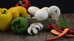 Vegetables on wooden box Footage