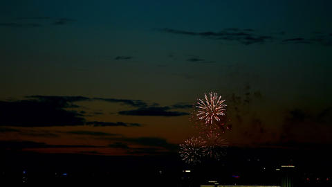 Evening Fireworks stock footage