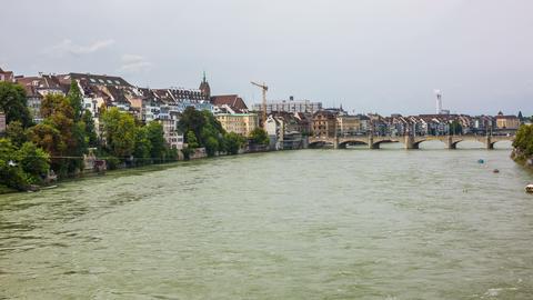 4K Basel, switzerland 2014 - city with rhein river Footage