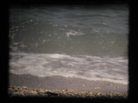 Sea and waves, vintage 8mm film Footage