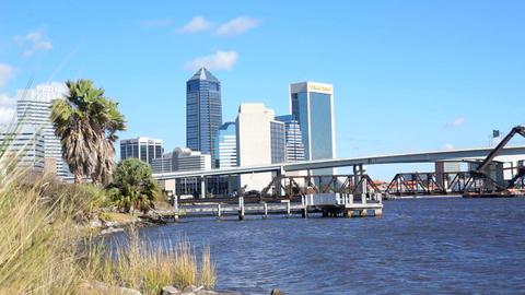 Jacksonville Florida Cityscape Bridges stock footage