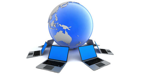 Laptops around globe. Global network concept Footage