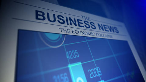 4K. Newspaper with business news titles and animat ビデオ