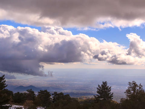 Clouds over Sicily. Panorama. Italy. TimeLapse. 64 Footage