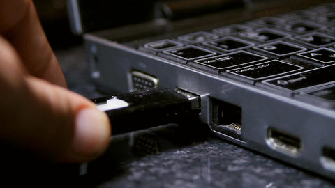 Hand Removing USB Thumb Drive From Laptop, Media,  stock footage