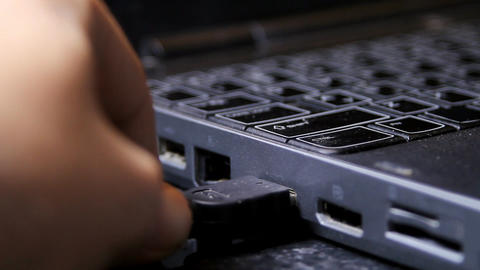 Hand Inserting HDMI Cable Into Laptop, Media, Tech stock footage