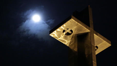 Cross Moon Timelapse Footage