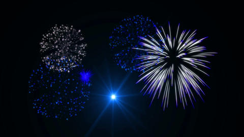 White & Blue Fireworks Animation