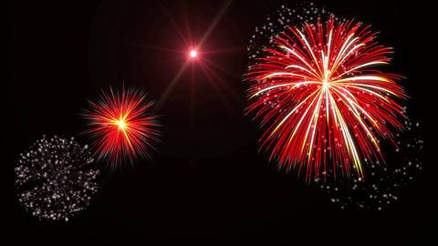 White & Red Fireworks stock footage