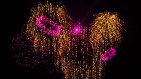 Gold & Pink Fireworks Animation