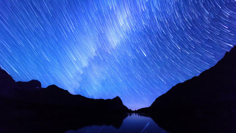 Milky Way Hides Dawn. Track. Time Lapse. 4K stock footage