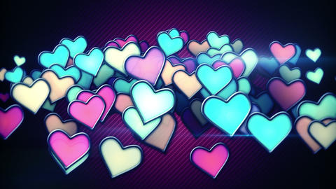 glowing colorful hearts loop background Animation
