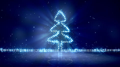 christmas tree glowing blue lights loop background Animation