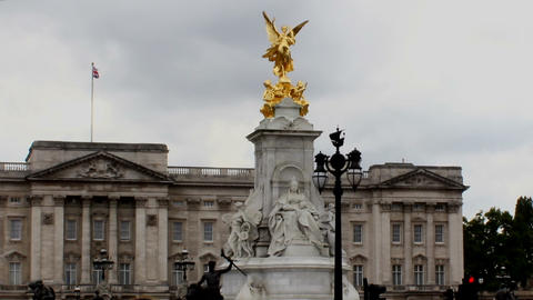 Buckingham Palace And Queen Victoria Memorial Lond Footage