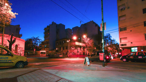 Nightly street scene in Palermo in Buenos Aires Footage