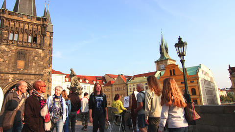 Timelapse of Charles Bridge in Prague Footage