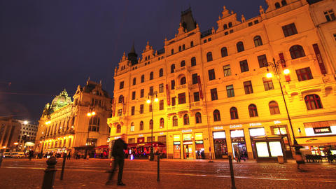 Timelapse Of The Republic Square In Prague stock footage
