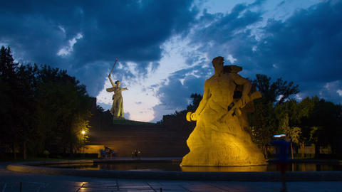 Monuments in Volgograd, Russia - evening timelapse Footage