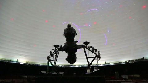 star projector inside a planetarium Stock Video Footage