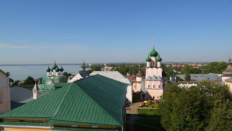 Panorama Of Kremlin In Ancient Town Rostov The Gre stock footage
