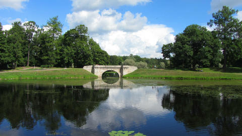 Bridge in Gatchina park - timelapse Footage