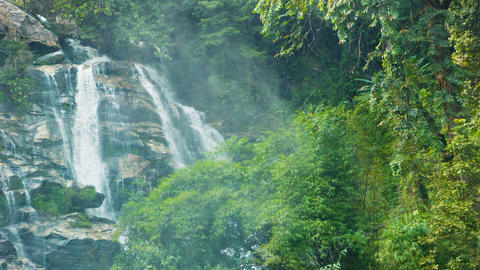 Large waterfall in the jungle near Chiang Rai. Tha Footage