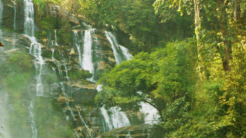 Large waterfall near Chiang Rai. Thailand. Vertica Footage