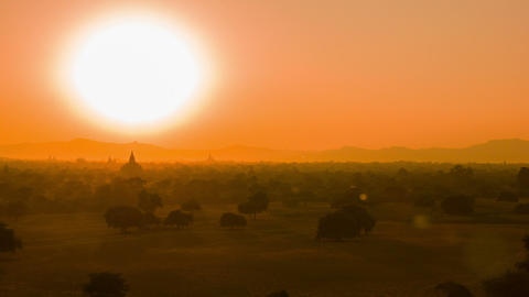 Evening view - architectural complex of Bagan in B Footage