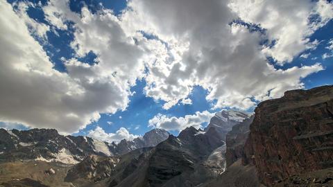 Sun illuminates the mountain valley. TimeLapse. Pa Footage