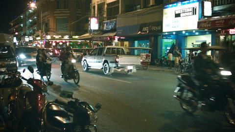 PHNOM PENH. CAMBODIA - 29 DEC 2013: Traffic flow o Footage