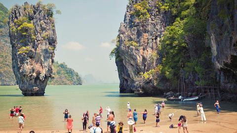 PHANG-NGA. THAILAND - CIRCA FEB 2014: Tourists on Live Action