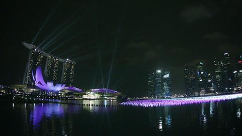 SINGAPORE - CIRCA DEC 2013: Marina Bay Sands and d Footage