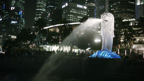 SINGAPORE - CIRCA DEC 2013: Statue of a lion with Footage