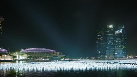 SINGAPORE - CIRCA DEC 2013: Night view of the Gulf Footage