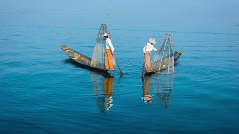 Burma. Inle Lake. The traditional way of fishing Footage