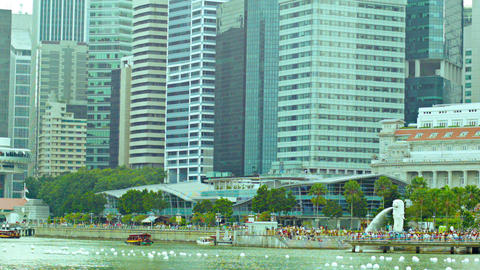 At The Foot Of Skyscrapers In Central Singapore stock footage