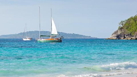 Sailboats near tropical beach - beautiful scenery Footage