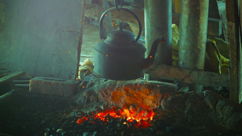 Old kettle over the fire in the smithy Footage