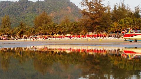 KAMALA. THAILAND - CIRCA MAR 2014: Leisure boat pu Footage