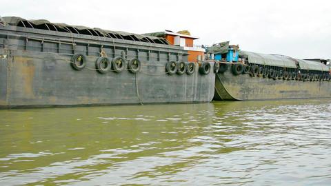 AUTHAYA. THAILAND - CIRCA NOV 2013: Large barges g Footage