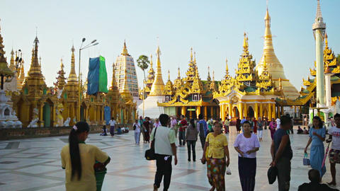 YANGON. MYANMAR - 03 JAN 2014: Visitors of the fam Footage