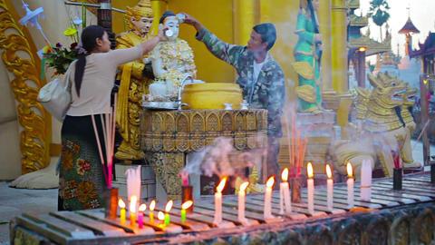 YANGON. MYANMAR - 03 JAN 2014: Parishioners watere Footage