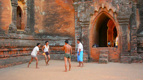 BAGAN. MYANMAR - CIRCA JAN 2014: People play the t Footage