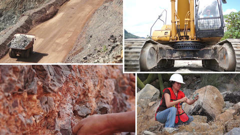 Mining Process and Activity Collage Footage